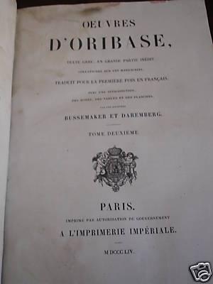 oeuvres d 39 oribase tome 2 par daremberg de 1854. Black Bedroom Furniture Sets. Home Design Ideas